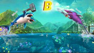 Trận chiến trong Game Double Head Shark Attack cá mập rất thu vị khi làm nhiệm vụ tranh giành ô chữ